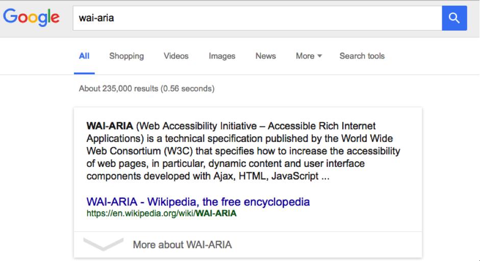 wia-aria google search result