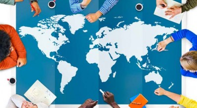 meeting taking place around world map