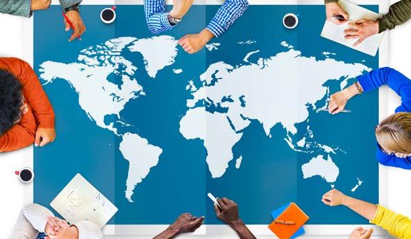 ux meeting taking place around world map