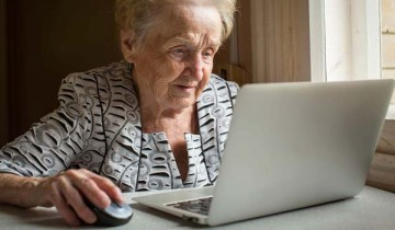 older person using a computer