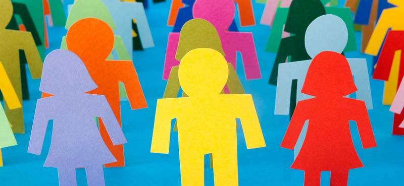 colourful illustration of simple cutout style human figures