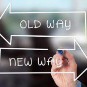 arrows saying old way versus new way