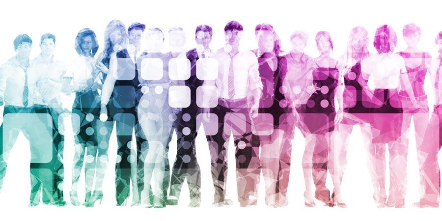 pixelated people image as metaphor for digital change