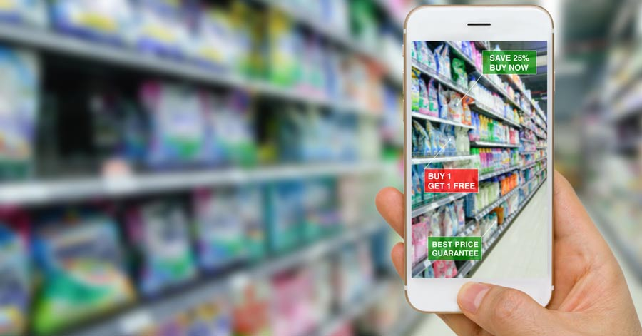 smartphone screen used in retail store aisle