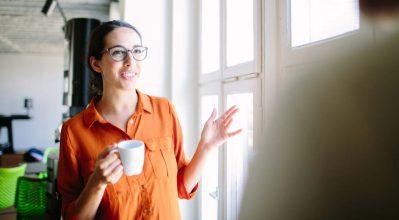 woman taking a tea break at work
