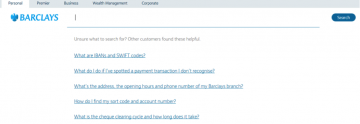screen grab image showing barclays guidance when user unsure what to search for