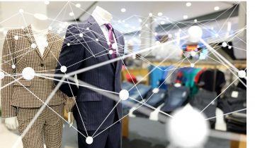 retail mannequin with network graphic overlay