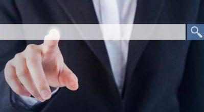 finger touching website search window
