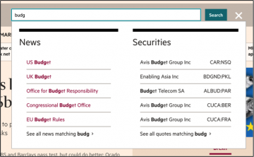 example search functionality from financial times website