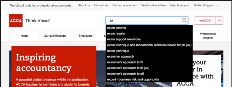 example search functionality from acca website