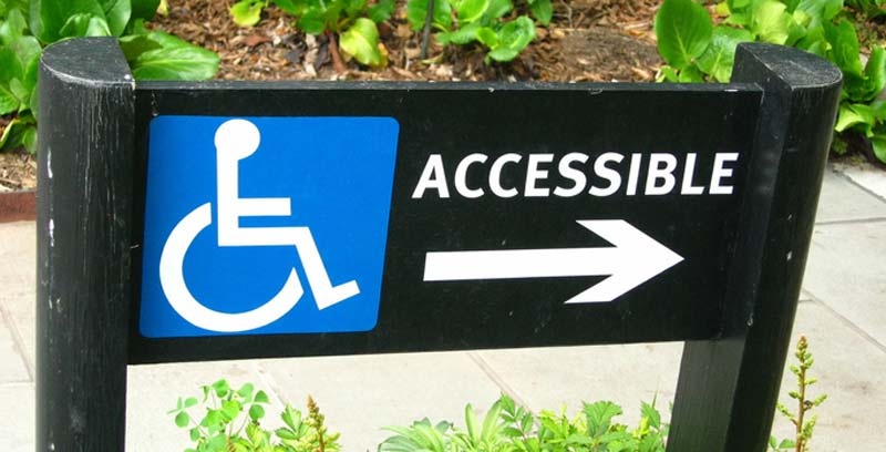 accessible ramp sign as part of disability management practice