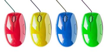 coloured desktop mice respresenting multiple disability management issues