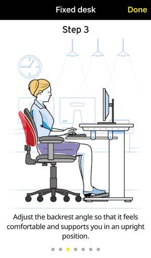 screenshot of workplace ergonomics app