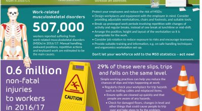 infographic on key HSE work related health and safety stats
