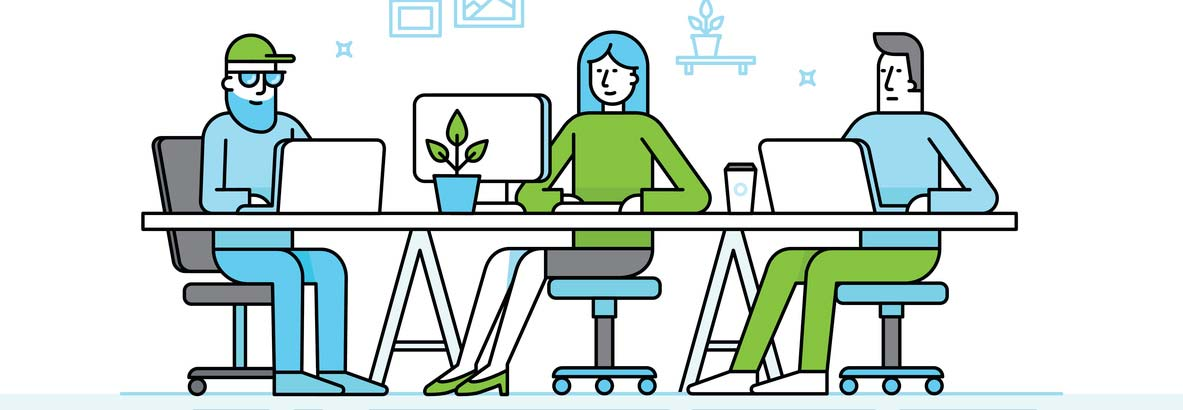 illustration of employees at workstations
