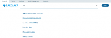 screen grab image showing barclays auto search suggestions