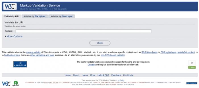 screen grab image showing w3c markup validator
