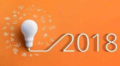 bringht image showing 2018 lightbulb idea concept