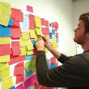 researcher organises post it notes on wall