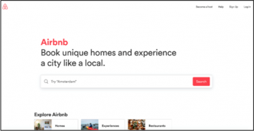 example search functionality from air bnb website
