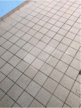 example 2 of specially cleaned patch on tiled floor