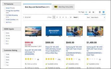 screenshot of best buy website
