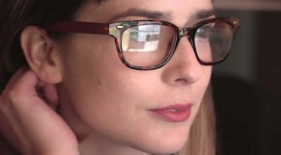 woman with glasses using site search
