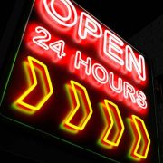 neon sign saying open 24/7