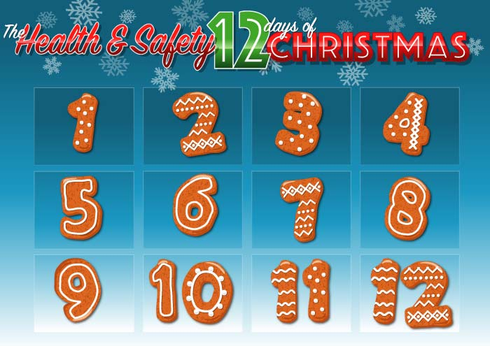 image of the health and safety 12 days of christmas calendar infographic before windows revealed