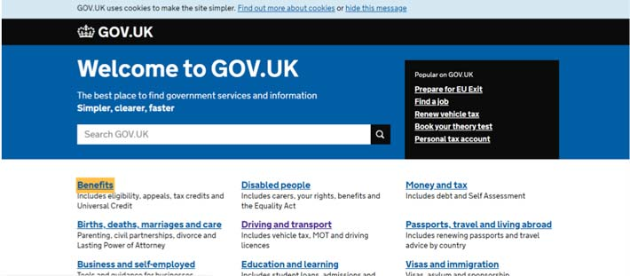 gov.uk website example of how making the focus clear helps make a website more accessible