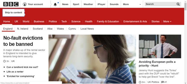 bbc website example of how skip links help make a website more accessible
