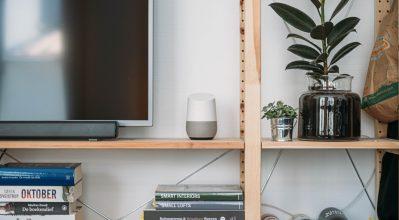 Google home, on a shelf