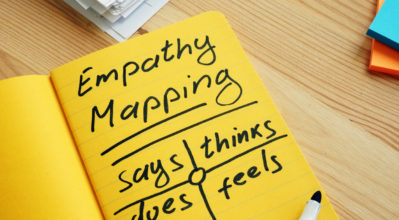 Empathy mapping;Note pad with map and pen.