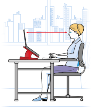 Ergonomic image - Position your laptop so the top of the screen is level with your eye height.