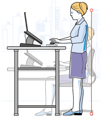 Ergo image, showing the best way to stand when working on a laptop