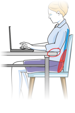 Drawing of a lady working at a tabel on a laptop; she ha a cushion to support her lower back.