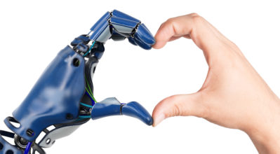 Hands creating a heart shaped; one human hand and one robot hand.