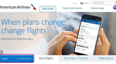 Clipping of American Airlines website - Login