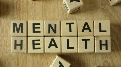 Mental health text from wooden blocks