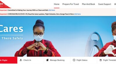 Clip of Kenya Airways website homepage with a focus on the pause button