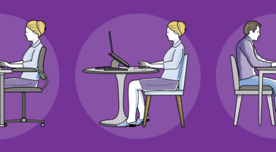Ergonomics images of people sitting at various tables to work