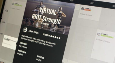 Les Mills - Studio 2 screen showing the virtual training programs available.