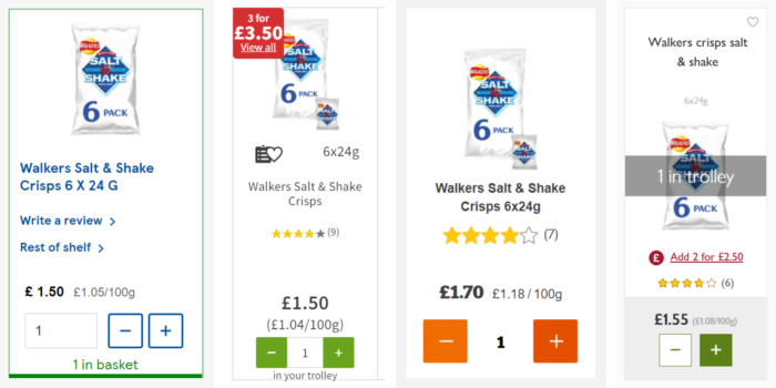 All supermarkets - Item added to basket