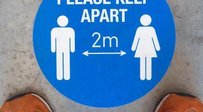 Social Distancing Floor Signage - Please keep 2m apart.