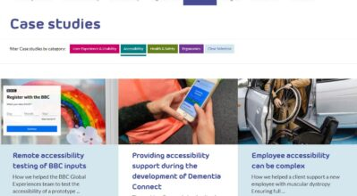 The Case studies page of the System Concepts website, which uses different colours for each of four categories that the user can filter the results by.