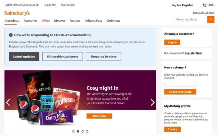Sainsburys -Groceries homepage