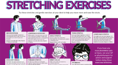 Infographic detailing 9 stretching exercises you can do at your desk.