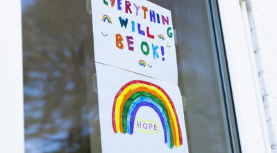 """(alt=""""Drawing in a window of a pandemic rainbow of Hope, with the words - Everything will be ok!"""")"""