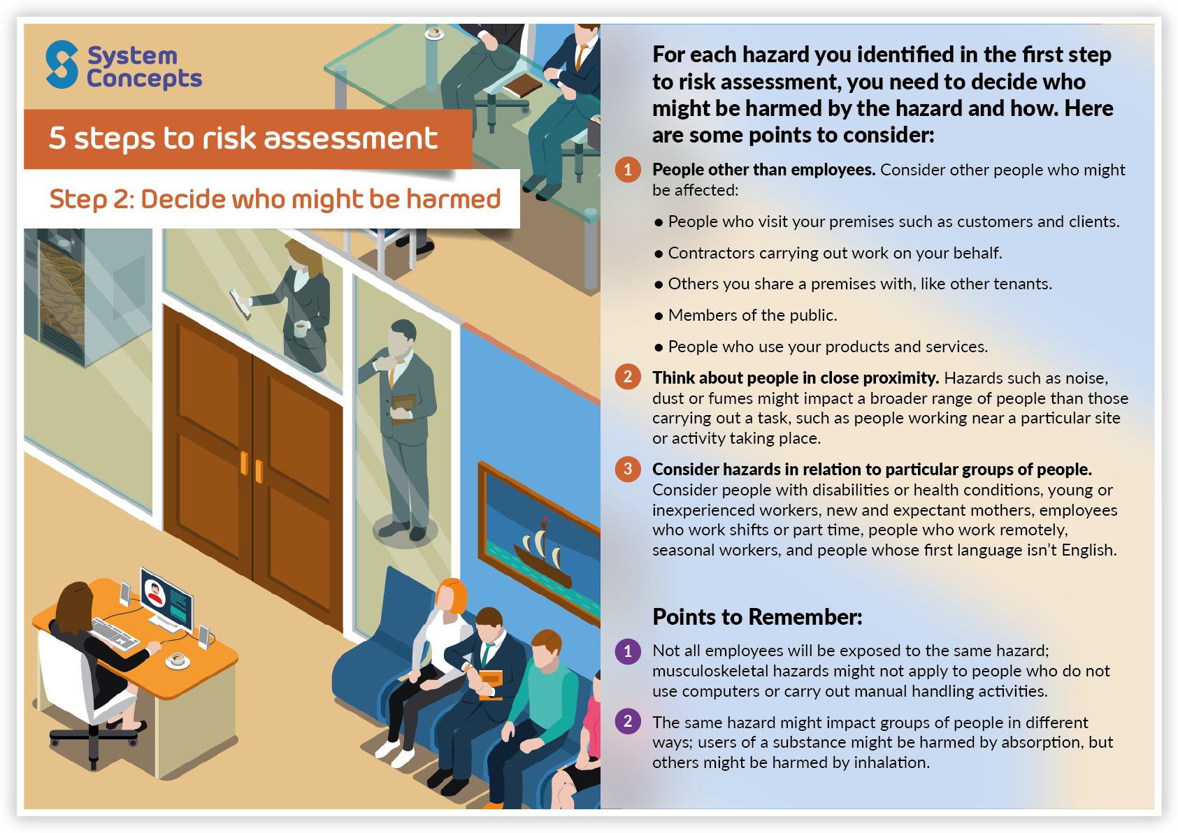 5 steps to risk assessment. Step 2 - Decide who might be harmed. Infographic with our tips to identifying who might be harmed by hazards and points to remember.