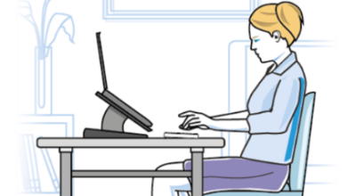 Graphic image of a lady working at a home, with her desk set up at a table, using a laptop raiser.